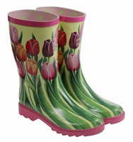 HOZ wellington rubberboot Tulip decor green/beige